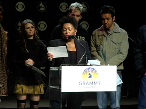 anita baker announces the grammy award nominees in the catagory best pop vocal album at the 2004 grammy awards nominations at the henry fonda music... - ノミネート点の映像素材/bロール