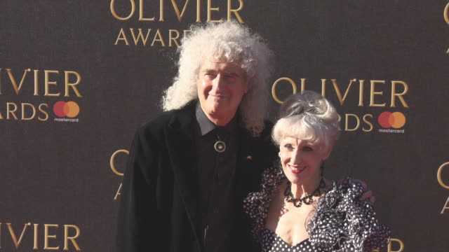anita dobson brian may at the olivier awards with mastercard on april 09 2017 in london england - anita dobson stock videos & royalty-free footage