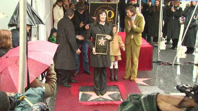 anjelica huston at the anjelica huston honored with a star on the hollywood walk of fame at hollywood ca - walk of fame stock videos and b-roll footage