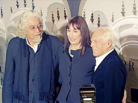 Anjelica Huston Giorgio Armani Robert Graham at the Giorgio Armani Celebrates 'The Oscars' With Exclusive Prive Show at Beverly Hills California