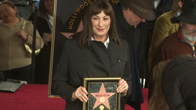 anjelica huston honored with a star on the hollywood walk of fame hollywood ca united states 01/22/10 - walk of fame stock videos and b-roll footage