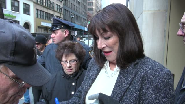 anjelica huston leaves the today show 02/20/12 in celebrity sightings in new york - anjelica huston stock videos & royalty-free footage