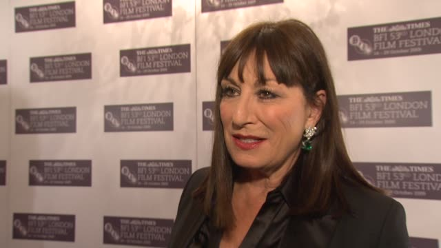 anjelica huston on how she's found being head of the jury at the festival on how she didn't fall asleep in any movies on how there was nothing... - anjelica huston stock videos & royalty-free footage