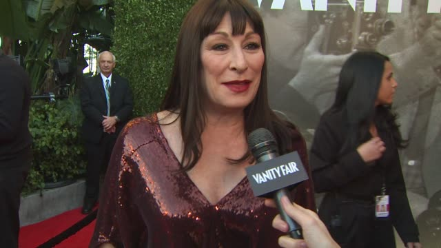 anjelica huston on the vanity fair oscar party at the 2011 vanity fair oscar party arrivals at hollywood ca - anjelica huston stock videos & royalty-free footage