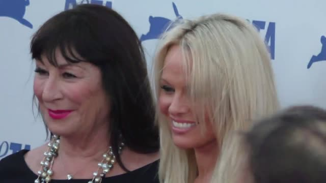 anjelica huston pamela anderson at the peta's 35th anniversary party at hollywood palladium in hollywood at celebrity sightings in los angeles on... - anjelica huston stock videos & royalty-free footage