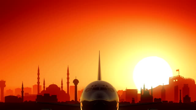 Ankara Turkey Airplane Take Off Skyline Golden Background
