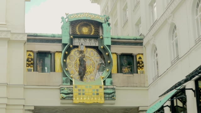 Ankeruhr Clock in Hoher Market.Close up shot