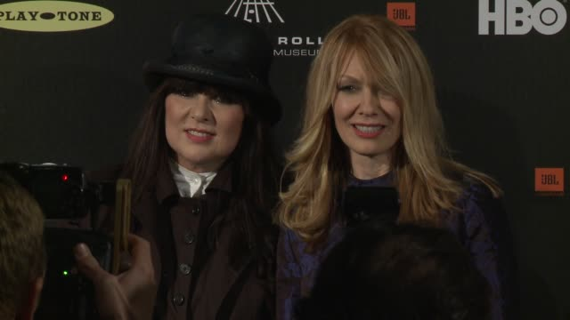 ann wilson nancy wilson at 28th annual rock and roll hall of fame induction ceremony press room 4/18/2013 in los angeles ca - hall of fame stock videos and b-roll footage