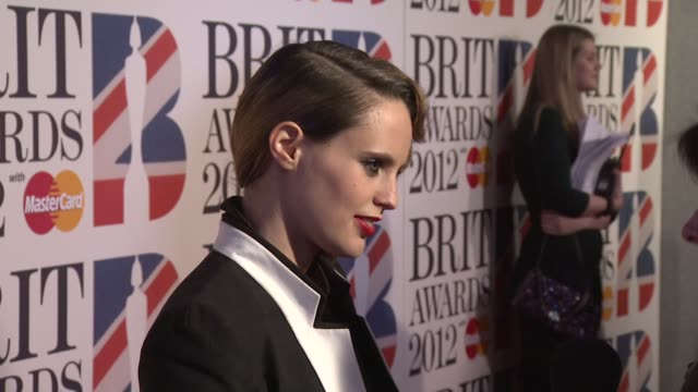 anna calvi at the brit awards 2012 red carpet at the o2 arena london uk on february 21 2012 - calvi stock videos and b-roll footage