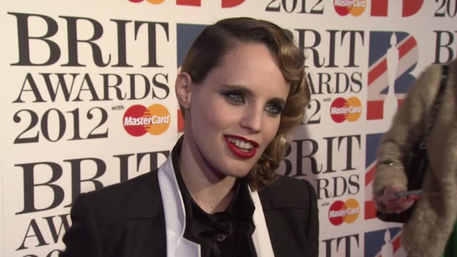 Anna Calvi on her surprise nomination on her recent success on being eclectic at the Brit Awards 2012 Red Carpet at the O2 Arena London UK on...