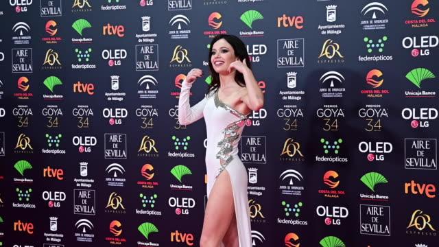 vídeos de stock e filmes b-roll de anna castillo attends the goya cinema awards 2020 during the 34th edition of the goya cinema awards at jose maria martin carpena sports palace on... - prémio