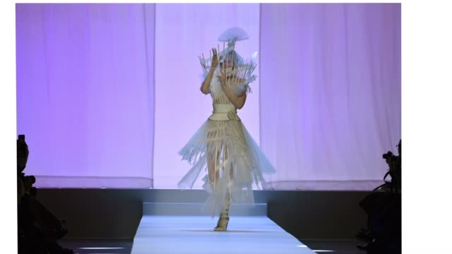 anna cleveland walks the runway during the jeanpaul gaultier spring summer 2019 show as part of paris fashion week on january 23 2019 in paris france - week stock videos and b-roll footage