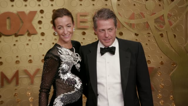 anna elisabet eberstein and hugh grant at the 71st emmy awards arrivals at microsoft theater on september 22 2019 in los angeles california - emmy awards stock videos & royalty-free footage