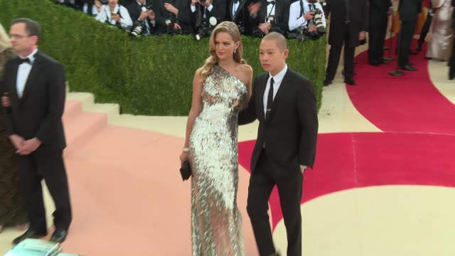 anna ewers and jason wu at manus x machina fashion in an age of technology costume institute benefit gala arrivals at metropolitan museum of art at... - manus x machina: fashion in an age of technology stock videos and b-roll footage