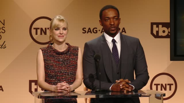 anna faris and anthony mackie at the 22nd annual screen actors guild awards nominations announcement at silverscreen theater at the pacific design... - anna faris stock videos and b-roll footage
