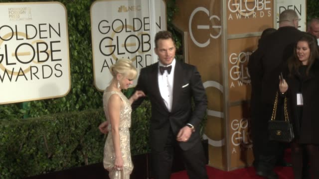 Anna Faris Chris Pratt at 72nd Annual Golden Globe Awards Arrivals at The Beverly Hilton Hotel on January 11 2015 in Beverly Hills California