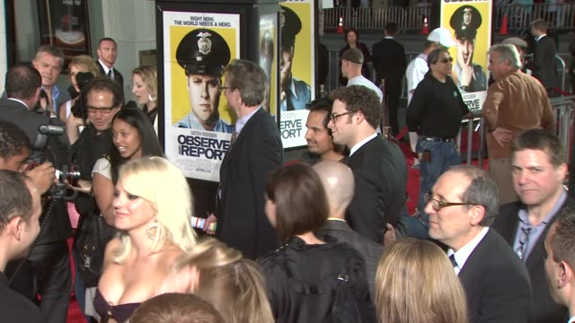anna faris michael pe_a seth rogen at the 'observe and report' premiere at hollywood ca - seth rogen stock videos and b-roll footage