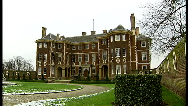 anna karenina costume exhibition opens at ham house; england: london: richmond: ham house: ext wide shot exterior of ham house and grounds sculpture... - england stock videos & royalty-free footage