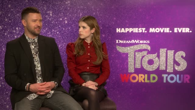 anna kendrick and justin timberlake discuss the release of trolls world tour, the follow-up movie to the 2016 animated comedy. it is the first... - justin timberlake stock videos & royalty-free footage