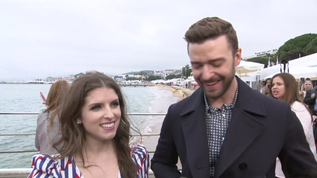 anna kendrick and justin timberlake on hard work drinking and creating music for the film 'trolls' on may 11 2016 in cannes france - justin timberlake stock-videos und b-roll-filmmaterial