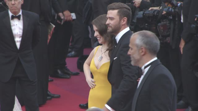 Anna Kendrick Justin Timberlake at 'Cafe Society' Opening Ceremony Red Carpet at Palais des Festivals on May 11 2016 in Cannes France