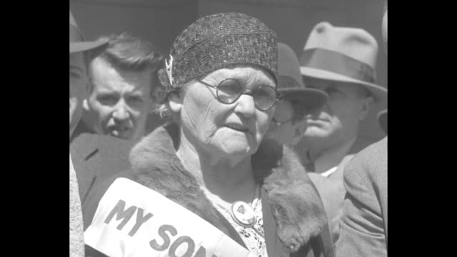 anna mooney and mother mary mooney stand with byrd kelso of the defense league on steps of california state capitol building after governor james... - torso stock videos & royalty-free footage