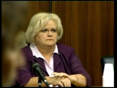 anna nicole smith custody battle; virgie arthur in court gv courtroom arthur along to seat in court monitor in court showing anna nicole smith... - anna nicole smith stock videos & royalty-free footage