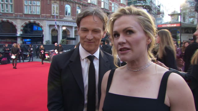 interview anna paquin actress on her scenes with robert de niro and oscar buzz for the film at 'the irishman' international premiere 63rd bfi london... - premiere stock-videos und b-roll-filmmaterial