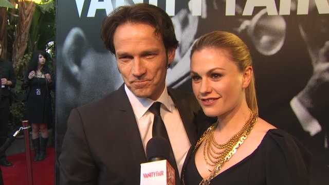 Anna Paquin and Stephen Moyer on getting ready for tonight on being excited for the nominees and who they are rooting for at the 2010 Vanity Fair...