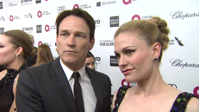 INTERVIEW Anna Paquin Stephen Moyer at Elton John AIDS Foundation Presents 22nd Annual Academy Awards Viewing Party Sponsored By Chopard Neuro Drinks...