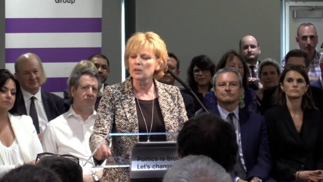 mp anna soubry addresses the european election launch of change uk in bristol heidi allen interim leader said 3700 people had offered to stand for... - change stock videos & royalty-free footage