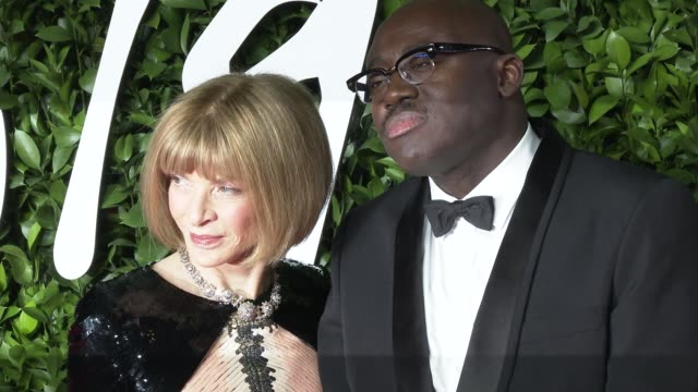 anna wintour and edward kobina enninful at the fashion awards 2019 at royal albert hall on december 2 2019 in london england - award stock videos & royalty-free footage