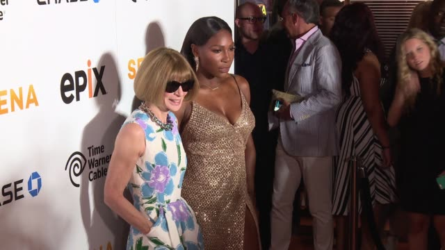 anna wintour and serena williams at the premiere of epix original documentary serena arrivals at sva theater on june 13 2016 in new york city - arrival stock videos & royalty-free footage