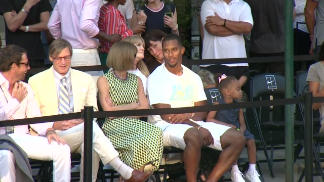 Anna Wintour and Victor Cruz at Nike's 'NYC Street Tennis' Event at TBD on August 24 2015 in New York City