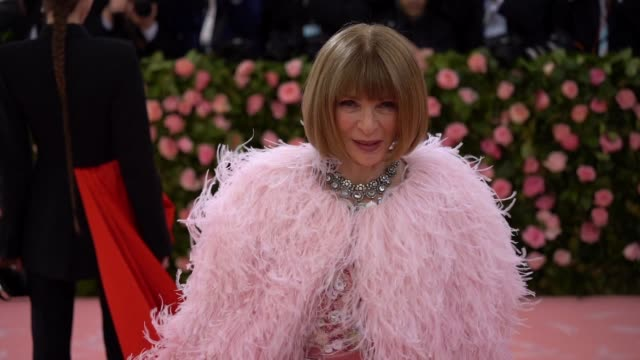 anna wintour at the 2019 met gala celebrating camp notes on fashion arrivals at metropolitan museum of art on may 06 2019 in new york city - met gala 2019 stock videos and b-roll footage