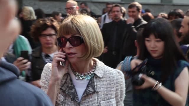 BROLL Anna Wintour Camille Lacourt Miroslava Duma Zhang Zhilin Silvia Wang Chiara Ferragni at Milan Fashion Week Giorgio Armani Arrivals on September...