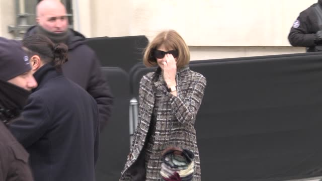 Anna Wintour leaves the Chanel Fashion Show during the Paris Fashion Week Womenswear Fall/Winter 2018/2019 on March 6 2018 in Paris France
