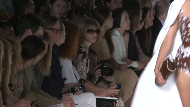 Anna Wintour observes the runway at Michael Kors Spring 2014 MercedesBenz Fashion Week Anna Wintour observes the runway at Michael Kors at The...