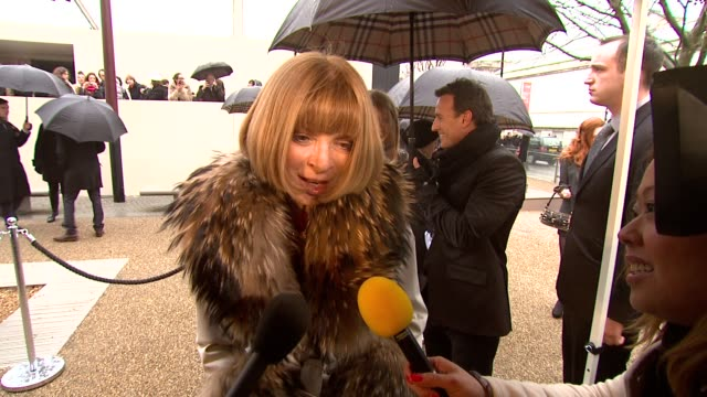 Anna Wintour on what it means to have this show in London and what makes Burberry so special at the Burberry Prorsum London Fashion Week A/W 2010 Red...