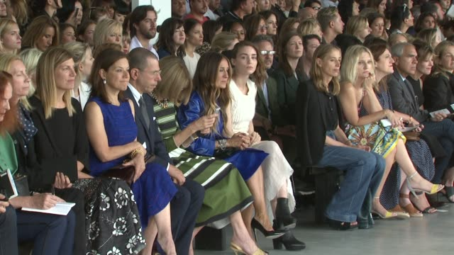anna wintour, sarah jessica parker and rooney mara at calvin klein - spring 2015 mercedes-benz fashion week on september 11, 2014 in new york city. - fashion show stock videos & royalty-free footage