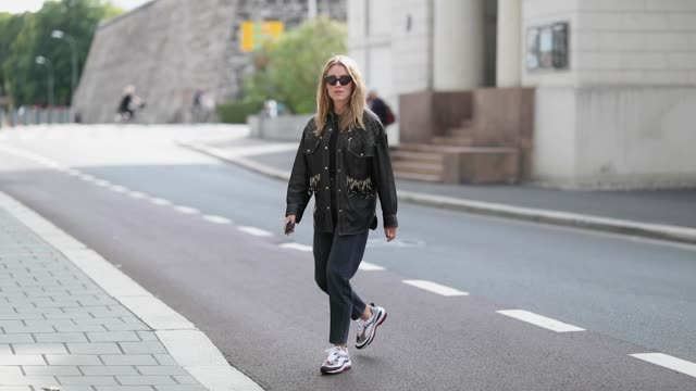 Annabel Rosendahl wearing a leather jacket is seen outside the 'Michael Olestad' show during Oslo Runway SS19 on August 15 2018 in Oslo Norway