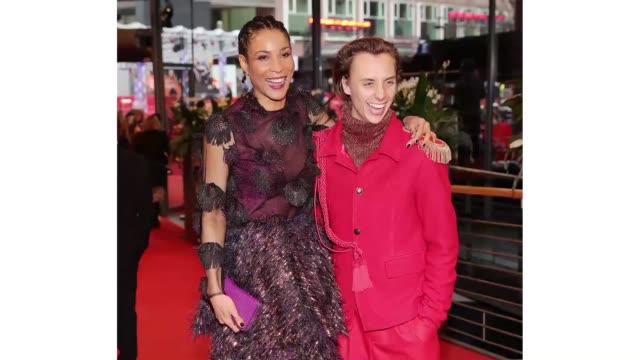 berlin germany february 26 annabelle mandeng and nils verkooijen pose at the berlin alexanderplatz premiere during the 70th berlinale international... - gif stock videos & royalty-free footage