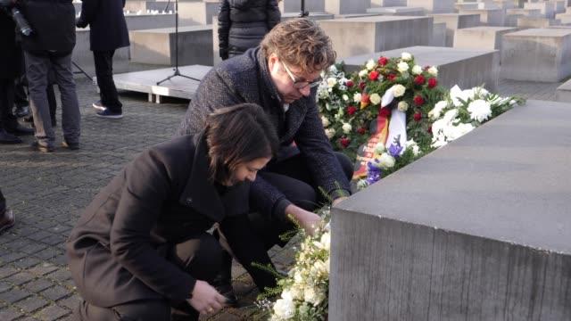 annalena baerbock coleader of the german greens party and michael kellner secretary general of the german greens party lay a wreath at the memorial... - wreath stock videos & royalty-free footage