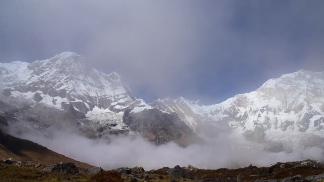 Annapurna mountain range with clouds