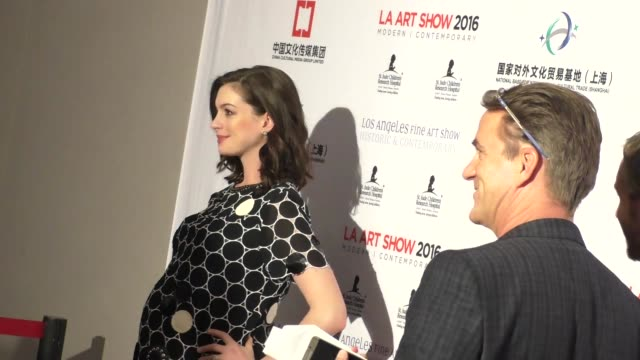 Anne Hathaway Adam Shulman at the LA Art Show And Los Angeles Fine Art Show's 2016 Opening Night Premiere Party at LA Convention Center in Los...