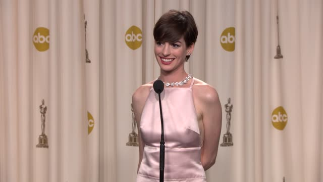 SPEECH Anne Hathaway at 85th Annual Academy Awards Press Room on 2/24/13 in Los Angeles CA