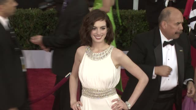 anne hathaway at the 15th annual screen actors guild awards part 3 at los angeles ca - 2009 video stock e b–roll