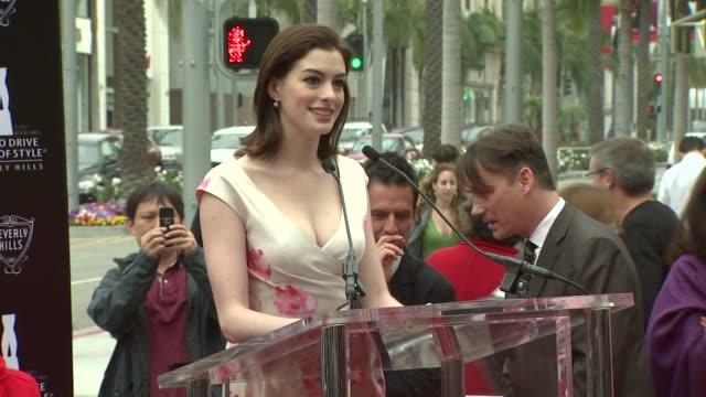 Anne Hathaway at the 2009 Rodeo Drive Walk of Style Honors Italian Designer Valentino Garavani at Los Angeles CA
