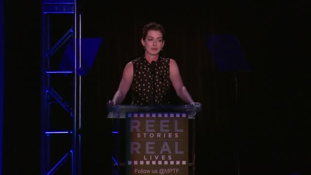 SPEECH Anne Hathaway at the 3rd Annual Reel Stories Real Lives Benefiting The Motion Picture Television Fund at Milk Studios on April 05 2014 in...