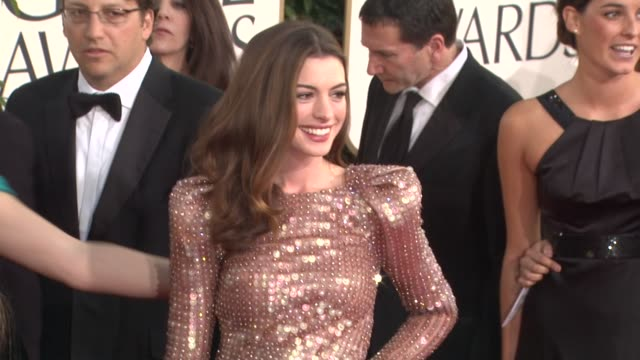 anne hathaway at the 68th annual golden globe awards - arrivals part 2 at beverly hills ca. - golden globe awards stock videos & royalty-free footage
